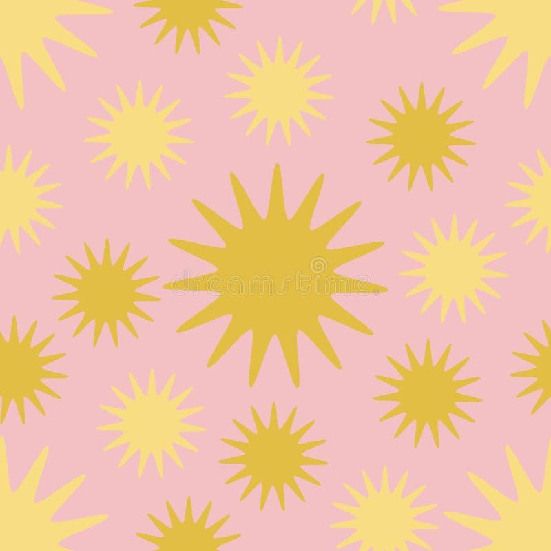 Un modèle sans couture d'un soleil d'or et jaune, sur un fond rose illustration libre de droits