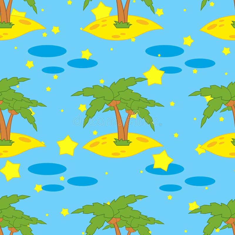 Un modèle sans couture des paumes vertes sur à sable jaune sur un fond bleu avec des étoiles illustration de vecteur