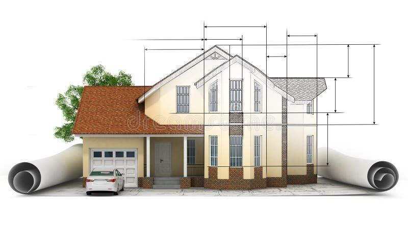 Un modèle stylisé de maison avec le plan, la règle et le crayon d'étage illustration de vecteur