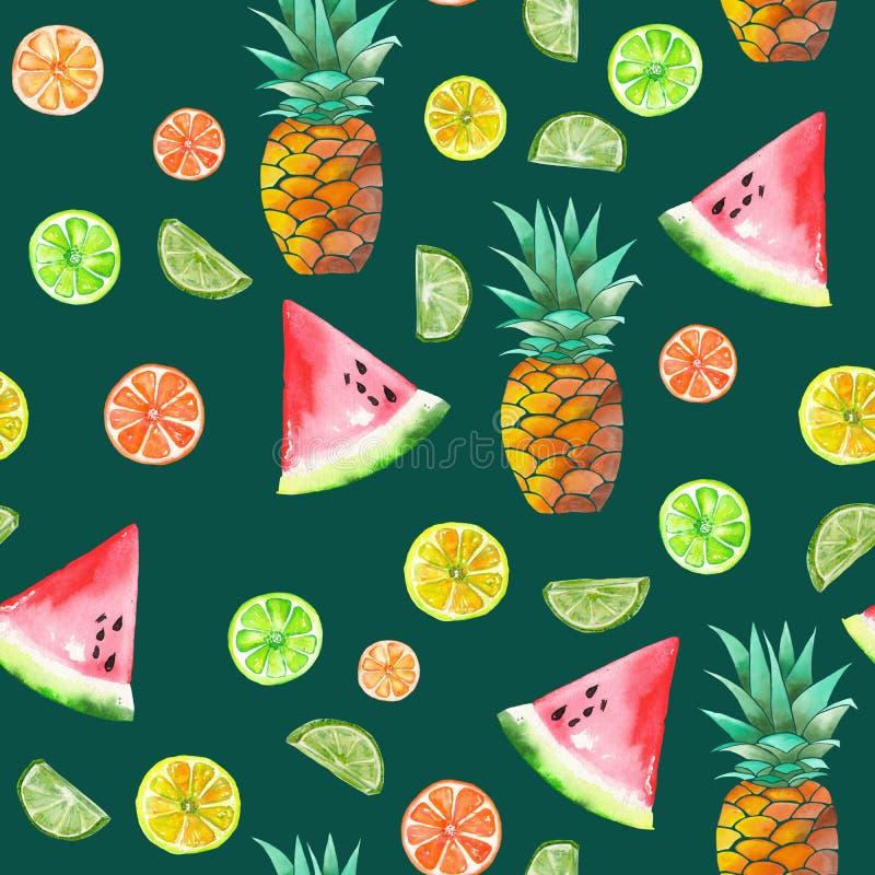 Un modello con i frutti canditi dell'acquerello, l'ananas, la calce e l'anguria colorati illustrazione vettoriale