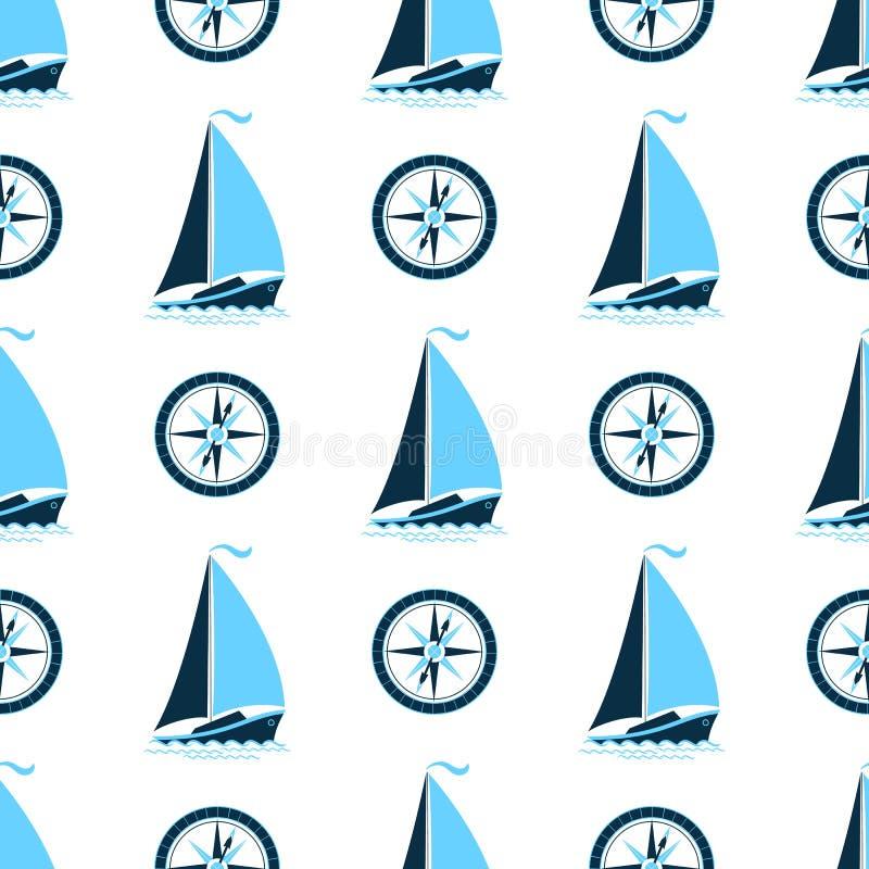 Un modello del mare con una nave e una bussola Fondo senza cuciture in uno stile marino royalty illustrazione gratis