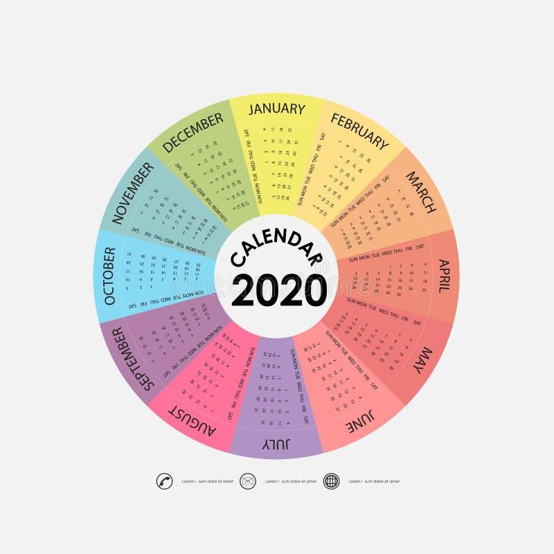 Un modello di 2020 calendari Modello del calendario del cerchio Un insieme del calendario 2020 di 12 mesi Parte da domenica Proge immagine stock libera da diritti