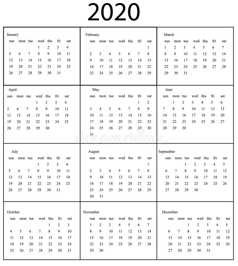 Un modello di 2020 calendari Inizio domenica illustrazione di stock