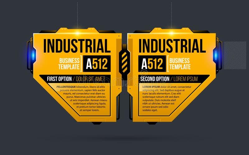 Un modello di due opzioni nello stile techno industriale giallo illustrazione di stock