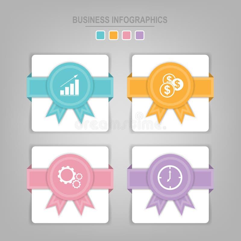Un modello di Infographics di quattro punti sui quadrati illustrazione di stock