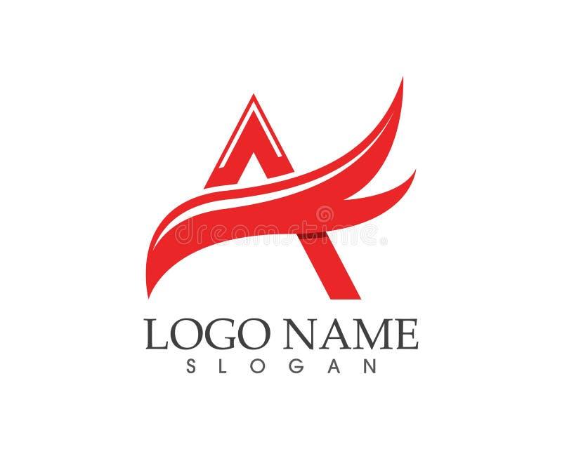 Un modello di logo dell'ala della lettera illustrazione vettoriale