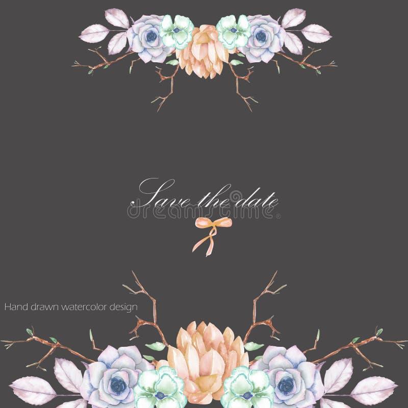 Un modello di una cartolina con un ornamento floreale dei succulenti dell'acquerello, fiori, rami di albero illustrazione vettoriale