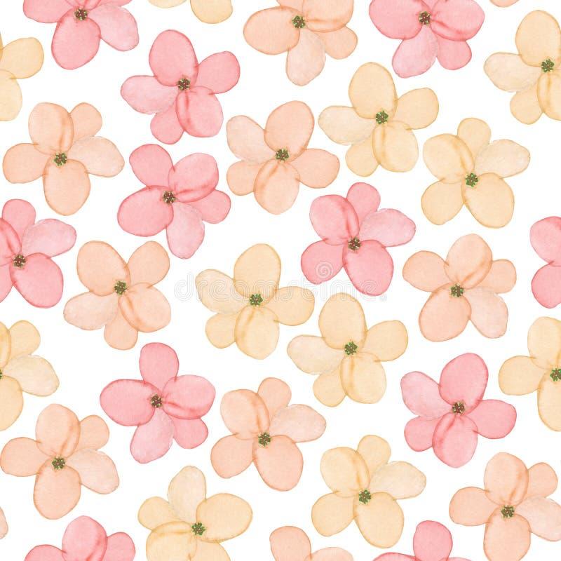 Un modello floreale senza cuciture con la molla rosa tenera disegnata a mano dell'acquerello fiorisce illustrazione di stock