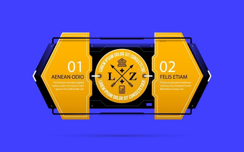 Un modello giallo di due opzioni nello stile techno industriale royalty illustrazione gratis
