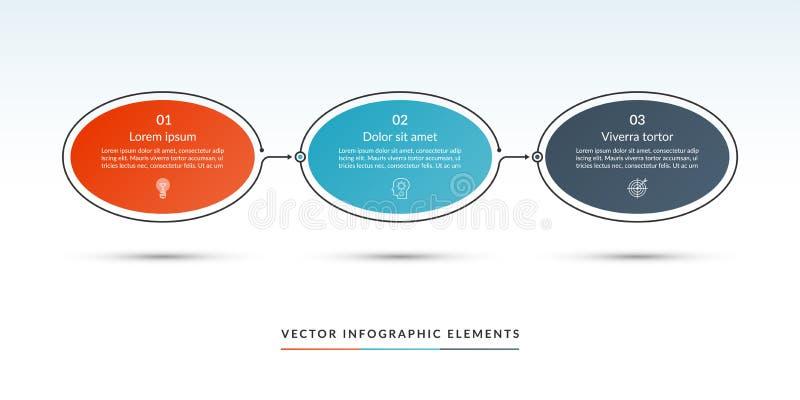 Un modello infographic di cronologia di 3 opzioni illustrazione vettoriale