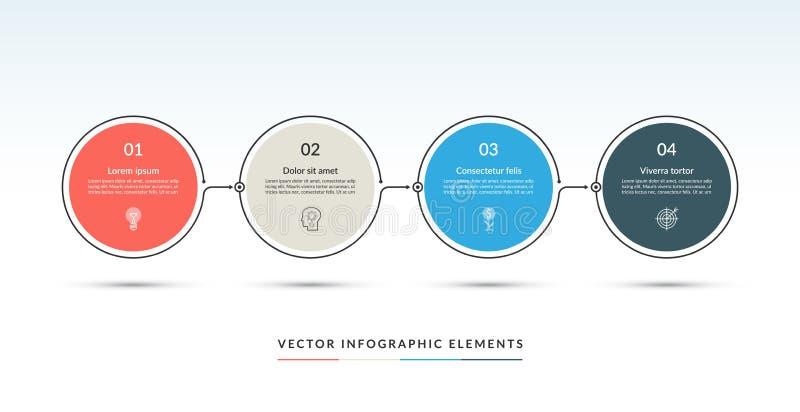 Un modello infographic di cronologia di vettore di 4 cerchi illustrazione di stock