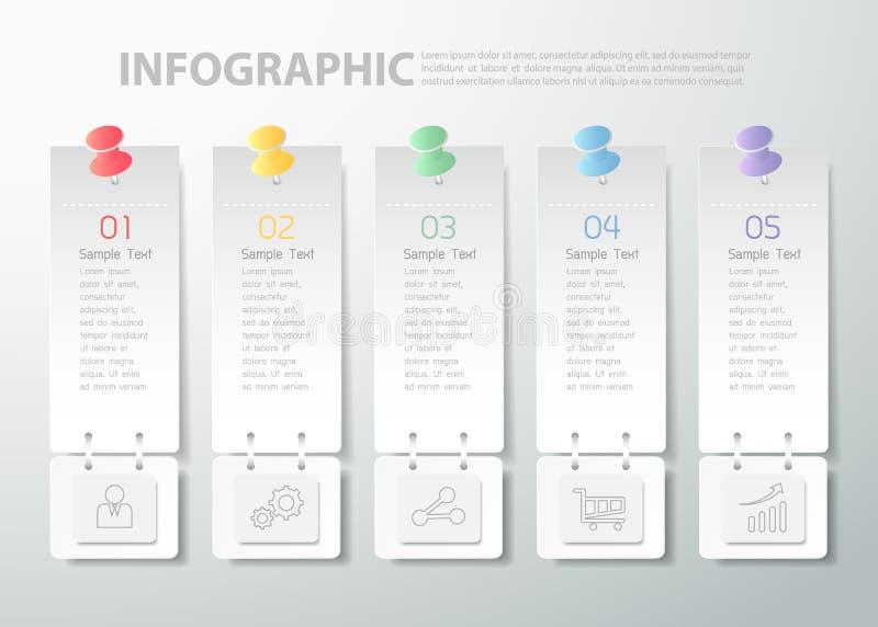 un modello infographic di 5 punti può essere usato per il flusso di lavoro, la disposizione, diagramma royalty illustrazione gratis