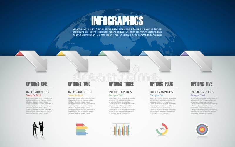 un modello infographic di 5 punti può essere usato per la disposizione di flusso di lavoro, diagramma illustrazione di stock