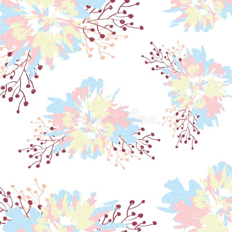 Un modello luminoso con le foglie ed i fiori pastelli svegli fotografia stock libera da diritti
