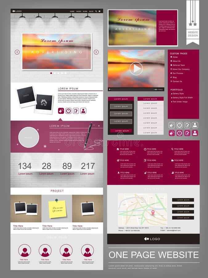 Un modello moderno di progettazione del sito Web della pagina illustrazione vettoriale