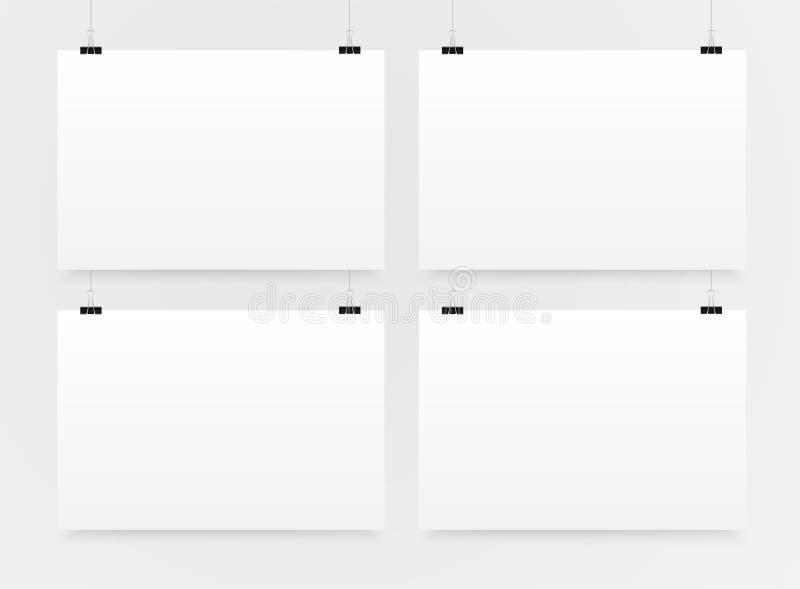 Un modello orizzontale A4 di 4 manifesti Modelli dell'insegna illustrazione vettoriale