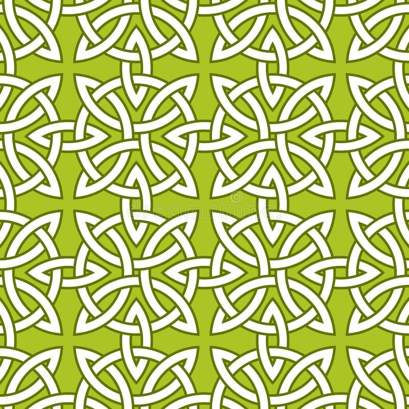 Un modello ornamentale senza cuciture basato sui nodi Quarternary celtici su fondo verde royalty illustrazione gratis