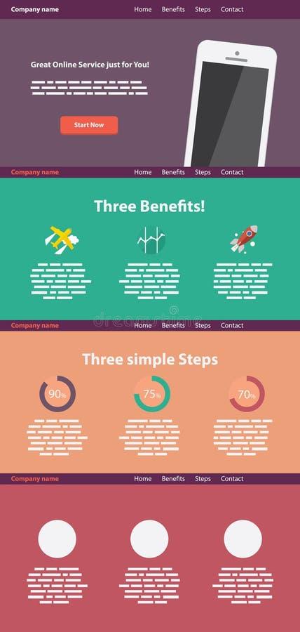 Un modello piano del sito Web di stile della pagina illustrazione di stock