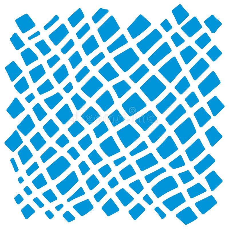 Un modello a quadretti diagonale Ornamento a strisce sudicio con i colpi dipinti a mano su fondo bianco illustrazione di stock