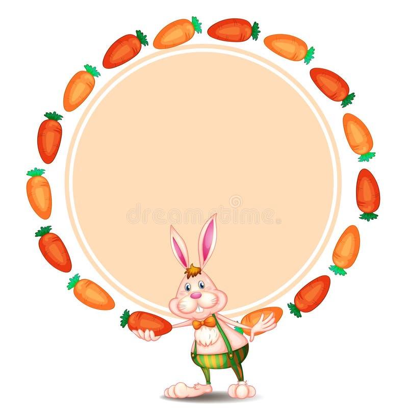 Un modello rotondo con un coniglietto e le carote illustrazione di stock