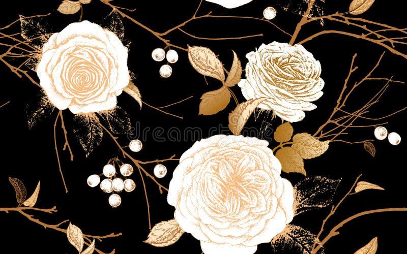 Un modello senza cuciture con le rose del giardino, i rami di albero e le bacche illustrazione vettoriale