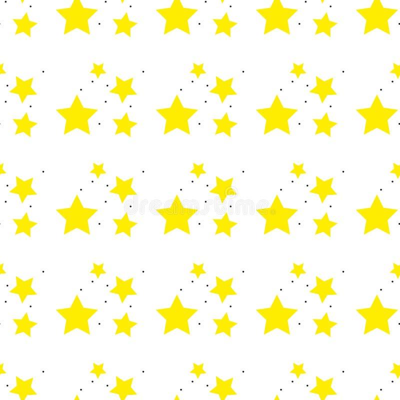 Un modello senza cuciture di una stella gialla di vettore Reticolo di stelle Illustrazione senza giunte di vettore Retro, fondo d illustrazione vettoriale