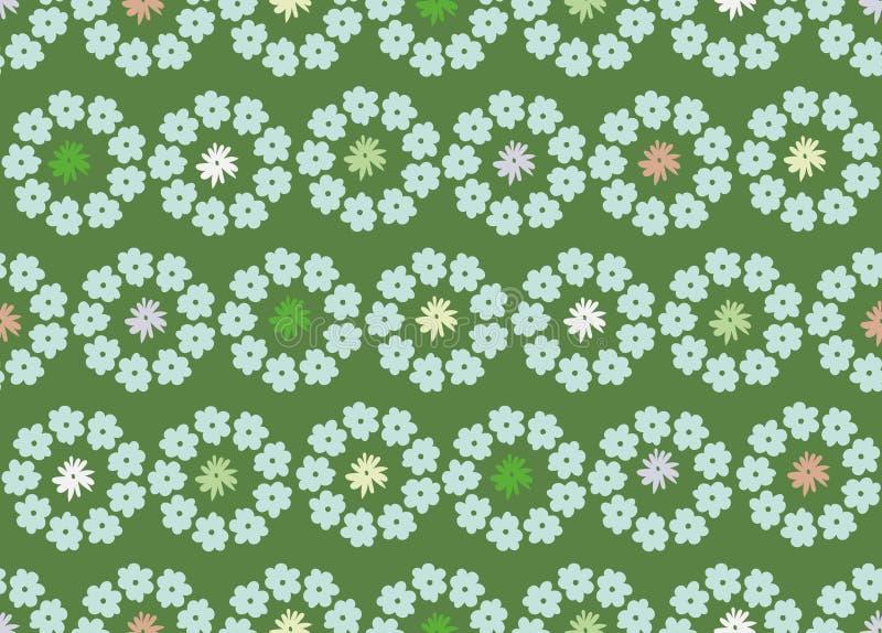 Un modello senza cuciture di vettore con i cerchi dei fiori della molla su un fondo verde illustrazione di stock