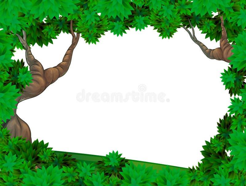 Un modello vuoto con due vecchi alberi illustrazione vettoriale