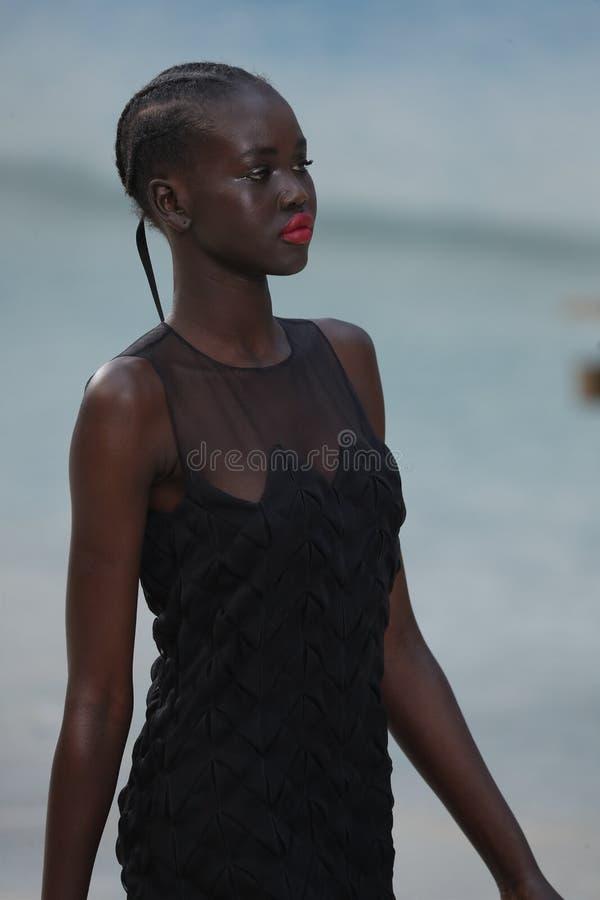 Un modelo camina la pista durante la demostración de Chanel como parte de la primavera/del verano 2019 de Womenswear de la seman fotos de archivo