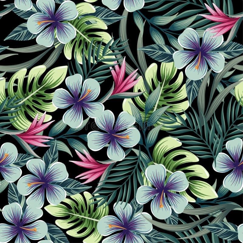 Un modelo colorido inconsútil con las plantas tropicales ilustración del vector