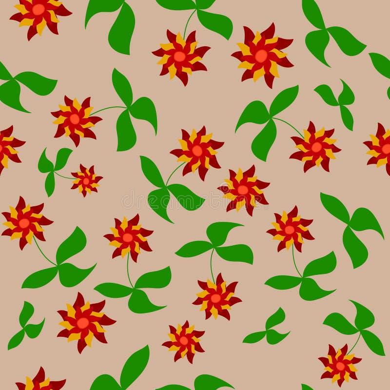 Un modelo de la brisa roja de las flores stock de ilustración