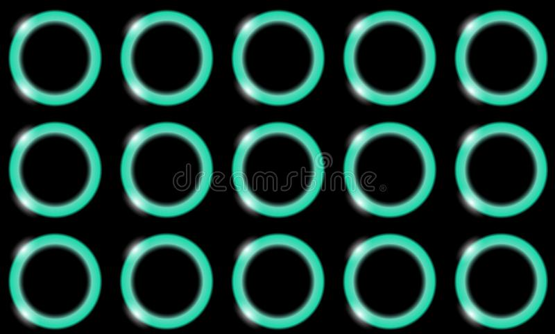 Un modelo de los anillos hermosos brillantes brillantes del extracto azul de la luz de neón, bolas, círculos con el resplandor de stock de ilustración