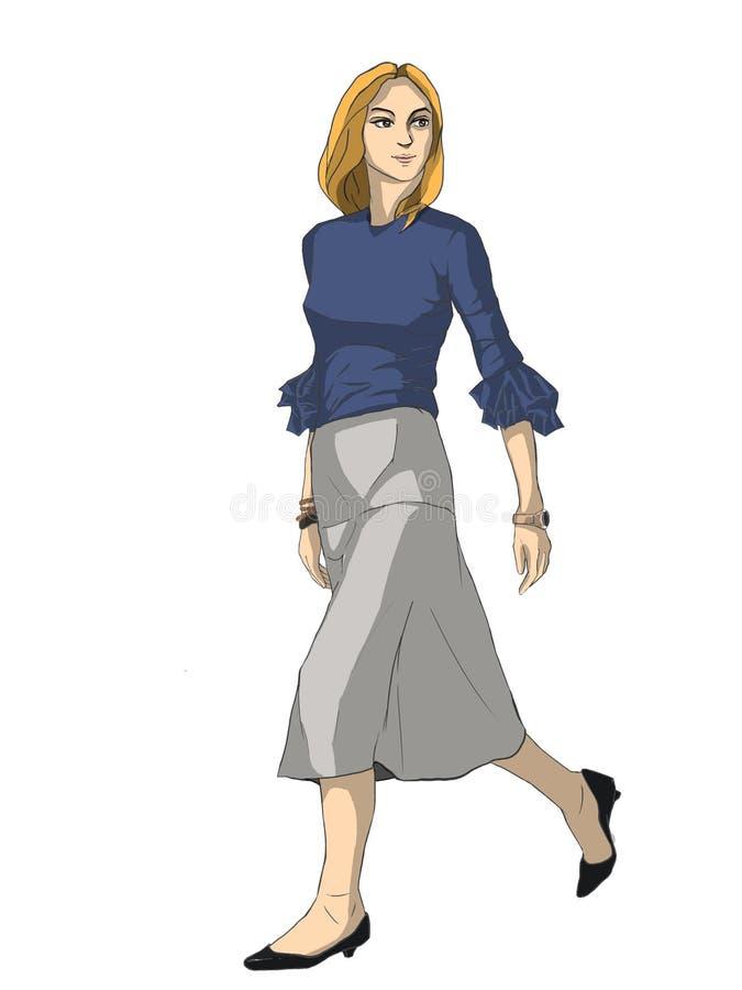 Un modelo de moda, muchacha de A que camina rápidamente fotografía de archivo libre de regalías
