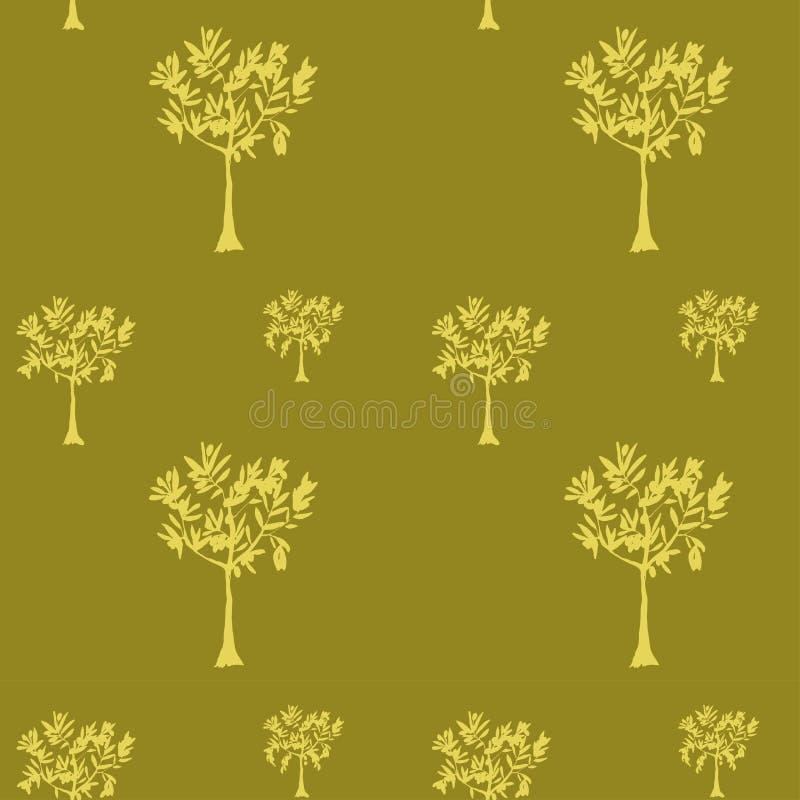 Un modelo de olivos en tonos verdes olivas Ilustración a mano del vector stock de ilustración