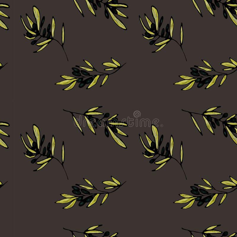 Un modelo de ramas de olivo en tonos verdes olivas en gris Ilustración a mano del vector ilustración del vector
