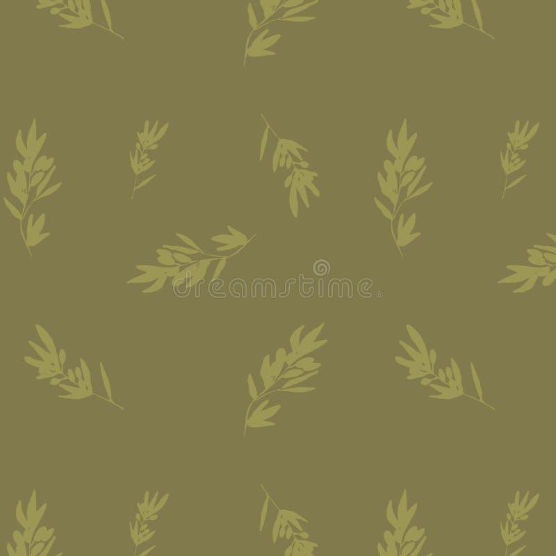 Un modelo de ramas de olivo en tonos verdes olivas Ilustración a mano del vector stock de ilustración