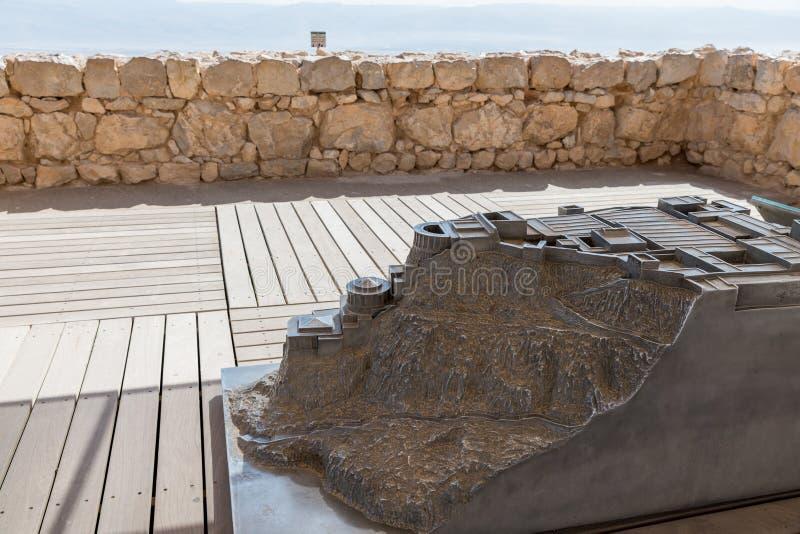 Un modelo del palacio septentrional en Masada imagenes de archivo