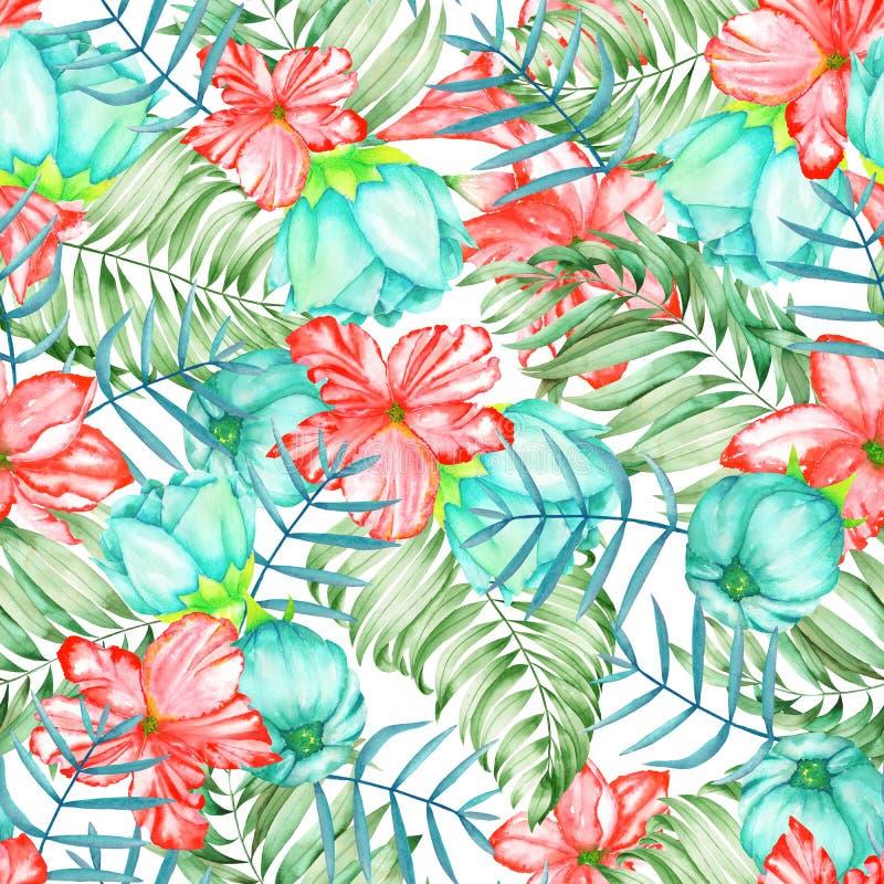 Un modelo inconsútil con las flores exóticas del rojo y de la turquesa de la acuarela, el hibisco y las hojas de las palmas ilustración del vector