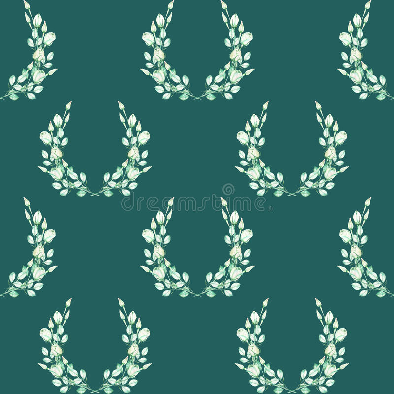 Un modelo inconsútil con las guirnaldas de las rosas verdes blandas, pintadas en una acuarela en un fondo verde oscuro stock de ilustración