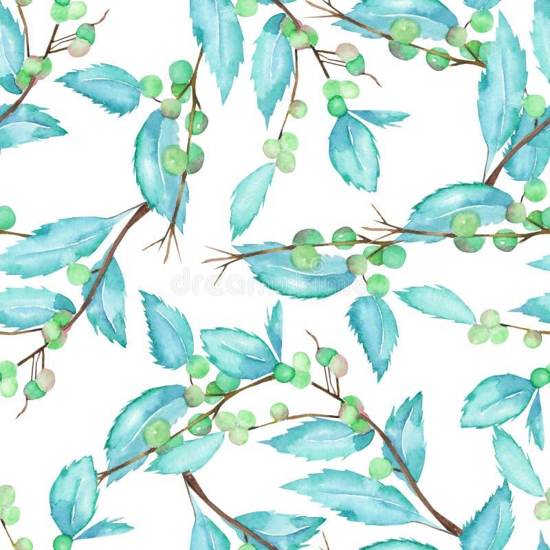 Un modelo inconsútil con las ramas y las hojas de la acuarela de una baya del bosque ilustración del vector