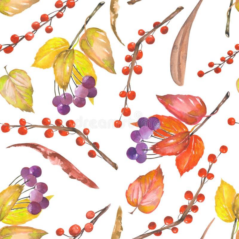 Un modelo inconsútil con un ornamento floral de los elementos del bosque de la acuarela: hojas de otoño rojas y amarillas en las  libre illustration