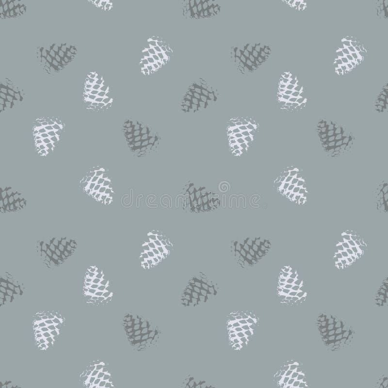 Un modelo inconsútil, de un cono del pino en plata, agradable como fondo, o como tela o como papel pintado, también en vector foto de archivo libre de regalías