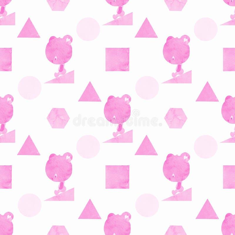 Un modelo inconsútil de un oso y formas en rosa, pintados en acuarela foto de archivo libre de regalías
