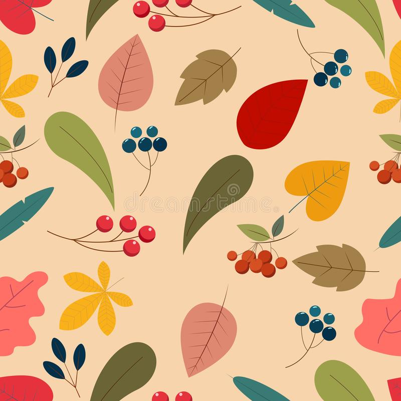 Un modelo inconsútil lindo con las hojas de otoño Elementos styles planos de una historieta stock de ilustración