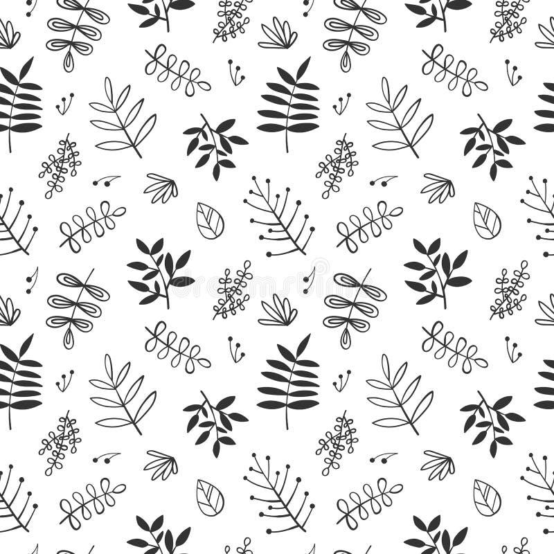 Un modelo incons?til de los elementos florales a mano y de las hojas de la historieta Ejemplo blanco y negro para la ropa, envolt stock de ilustración