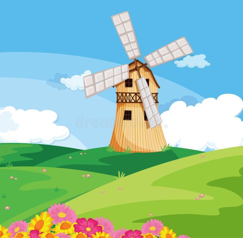 Un molino de viento sobre la colina ilustraci n del vector for Molinos de viento para jardin