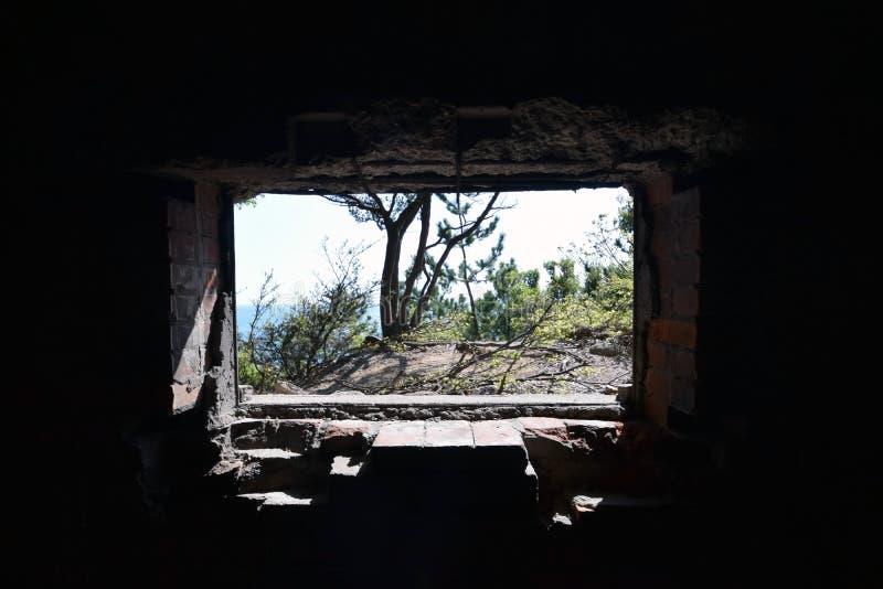 Un mondo che dà una occhiata tramite il tunnel nel Giappone fotografia stock