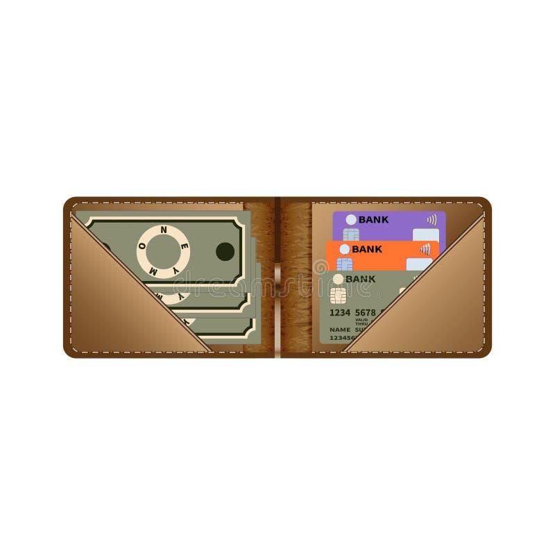 Un monedero de cuero marrón abierto con las tarjetas del dinero y de crédito en un fondo blanco Ilustración del vector stock de ilustración