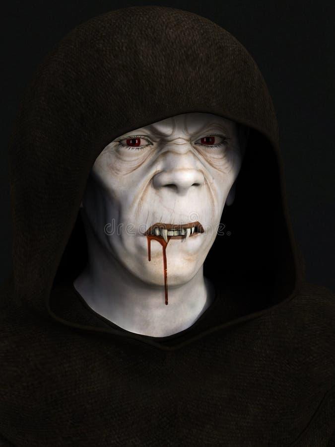 Un monje con los dientes del vampiro ilustración del vector
