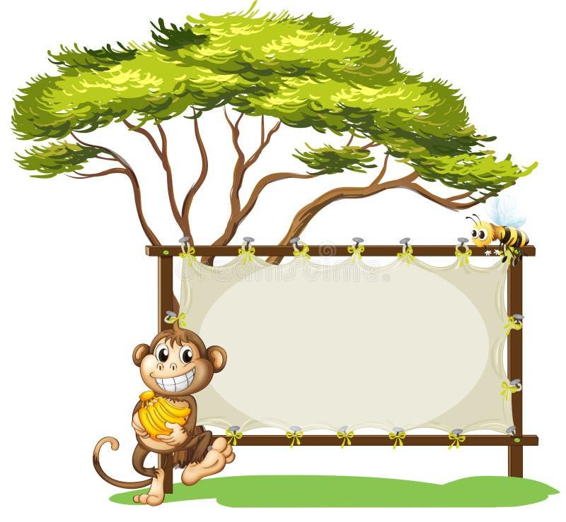 Un mono con un plátano cerca de la señalización vacía stock de ilustración